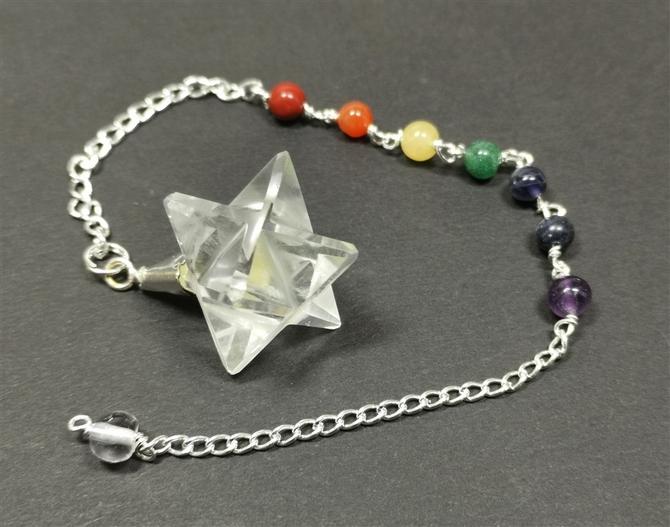 Pendulum with Quartz Merkaba and Chakra Stones