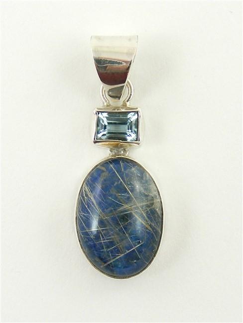 Lapis lazuli and rutilated quartz pendant with blue topaz mozeypictures Images