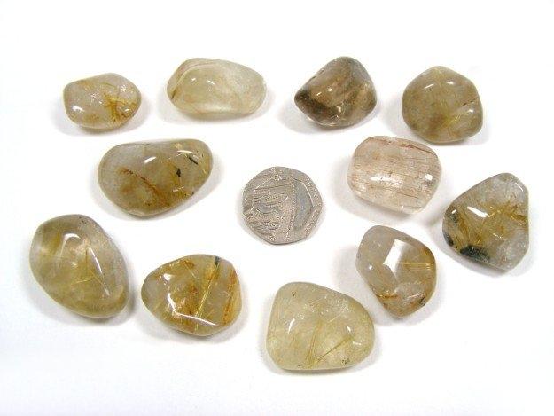 Rutilated Quartz Stones : Rutilated quartz tumbled stone tumble