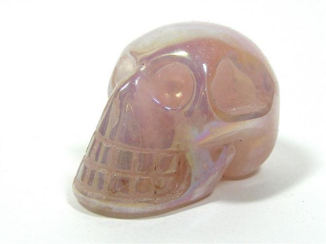 Rose Aura Quartz Mini Skull No2