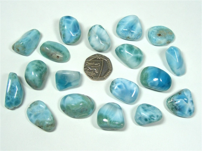Larimar Tumble Stone, A Grade, Medium