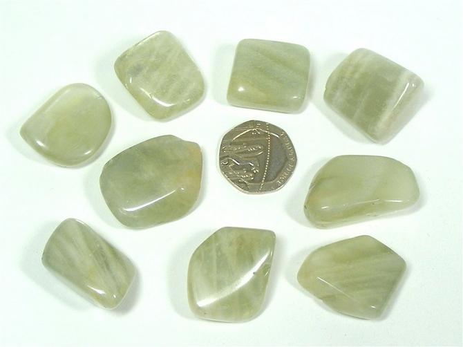 Moonstone - Green, Tumble Stone