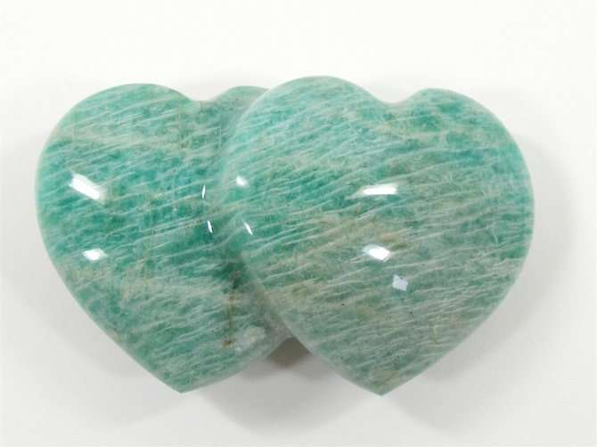 Amazonite Double Heart - 100mm