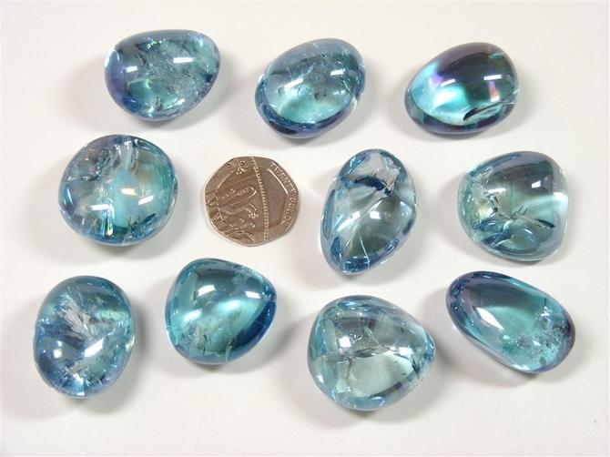Quartz - Aqua Aura, Tumble Stone Extra Quality