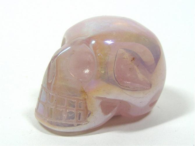 Rose Aura Quartz Skull No3 - 35mm, 30grms