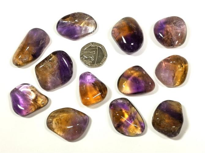 Ametrine Tumble Stone, A Grade