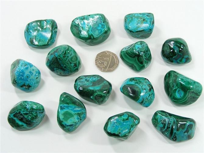 Malachite and Chrysocolla Tumble Stone