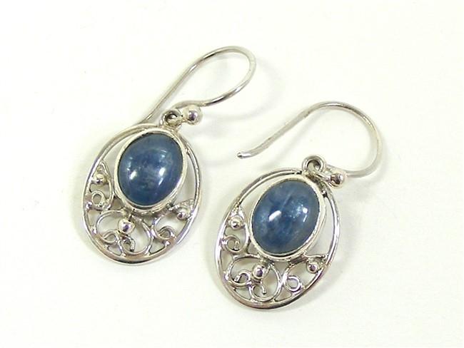 Blue Kyanite Silver Scroll Earrings No2