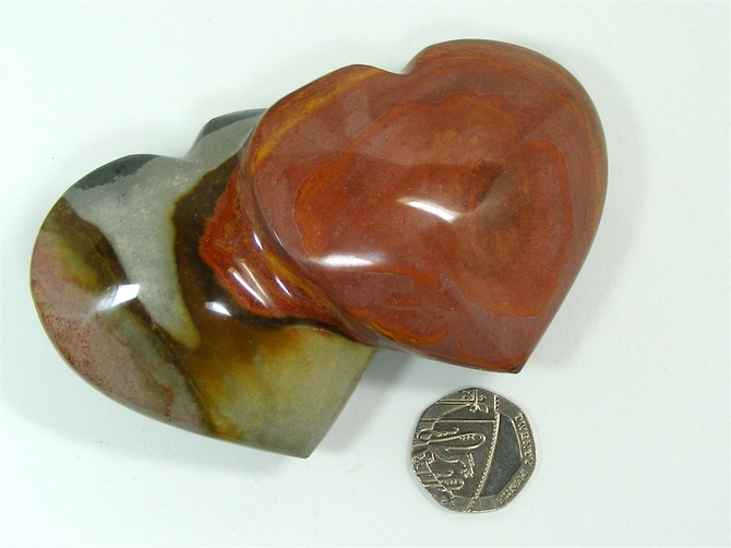 Polychrome Jasper Double Heart - 100mm