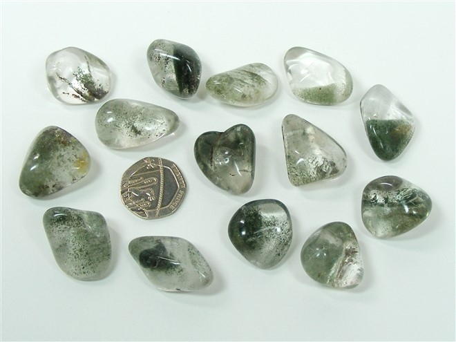 Chlorite in Quartz Tumble Stone