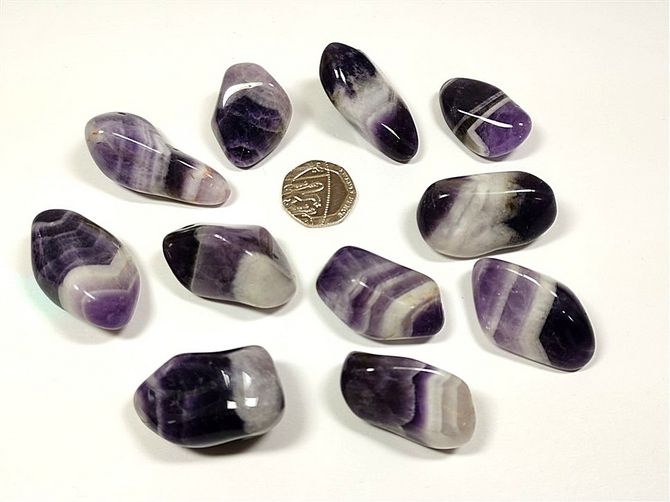 Amethyst - Banded, Tumble Stone