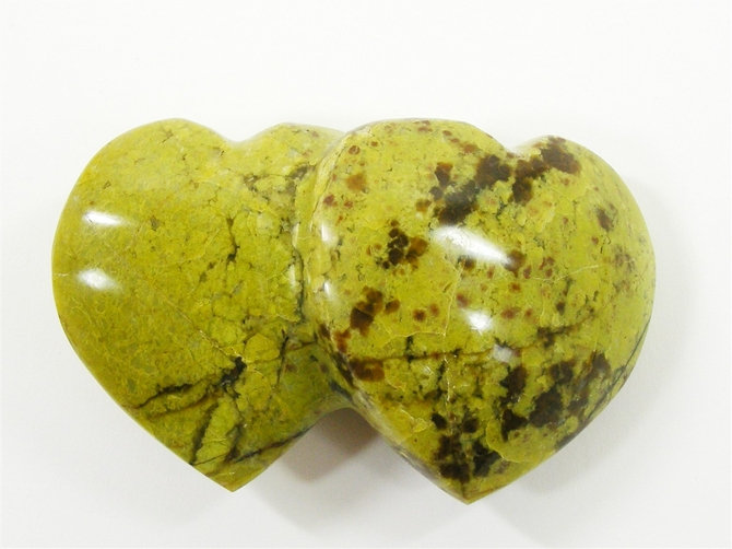 Madagascar Green Opal Double Heart No1 - 100mm