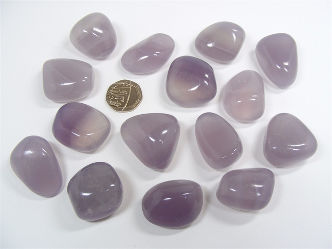 Lavender or Yttrium Fluorite Tumble Stone