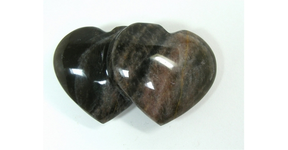 Black Moonstone Double Heart - 100mm