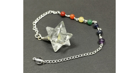 Pendulum with Quartz Merkaba and Chakra Stones