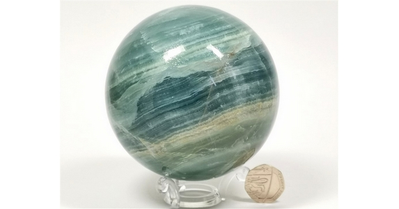Lemurian Aquatine Calcite Sphere - you will receive this exact sphere